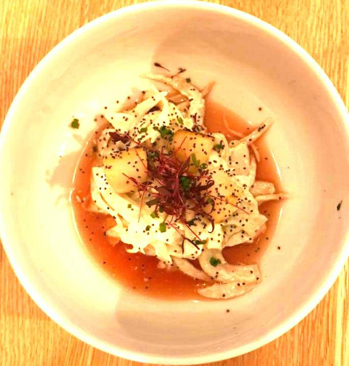 Scallops with fennel salad and blood orange and ginger gazpacho