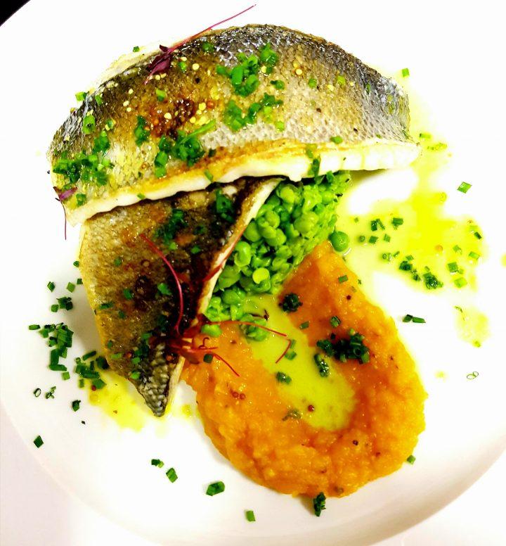 Sea bass with butternut squash