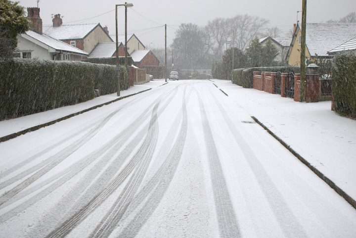 A snowy street in Preston Pic: Tony Worrall