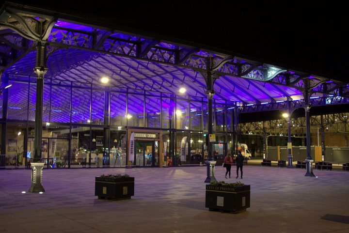 The new Preston Market Hall at night Pic: Tony Worrall