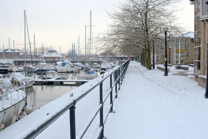 Preston Docks covered in a blanket of snow Pic: Tony Worrall