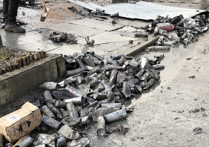 Damage to the aerosol cans from the blaze Pic: provided by Lancashire Post