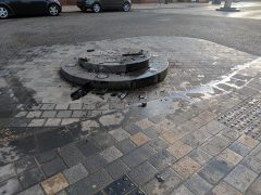 What happens when you drive over the bollard's plinth in Fishergate Pic: Kate