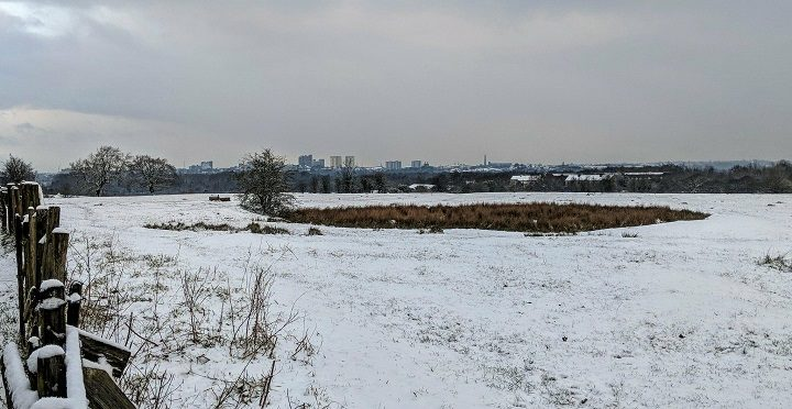 Looking towards a snowy Preston