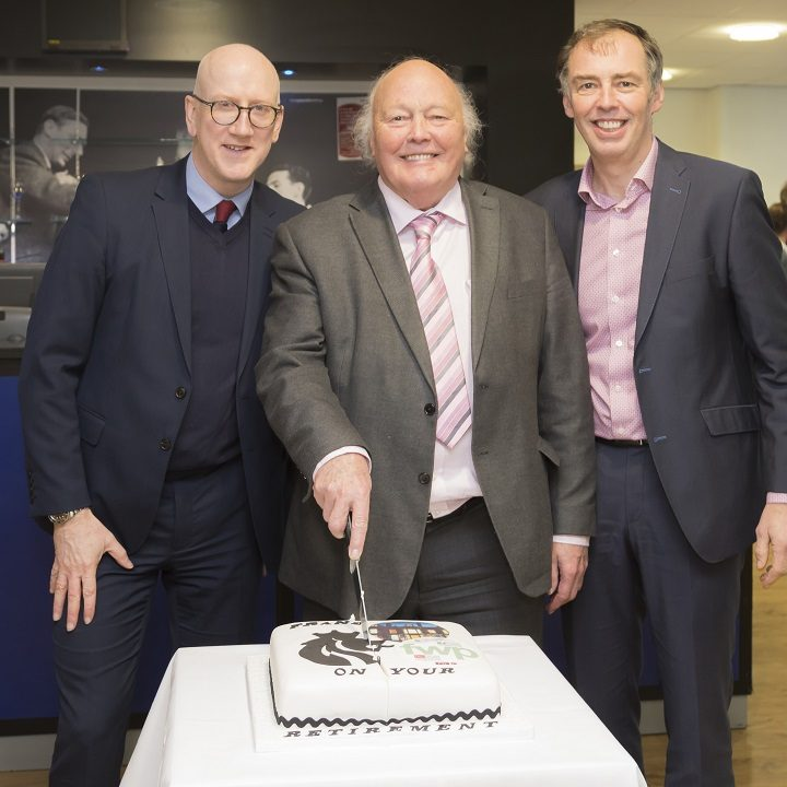 David Robinson and Martin Whittle with Frank - and his celebratory cake