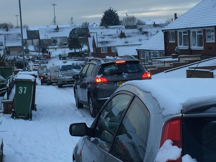 Scene in Ronaldsway as cars become stranded