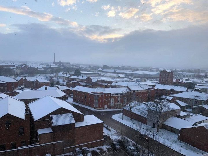 The view across Preston city centre with snowy rooftops Pic: Nicola Martin