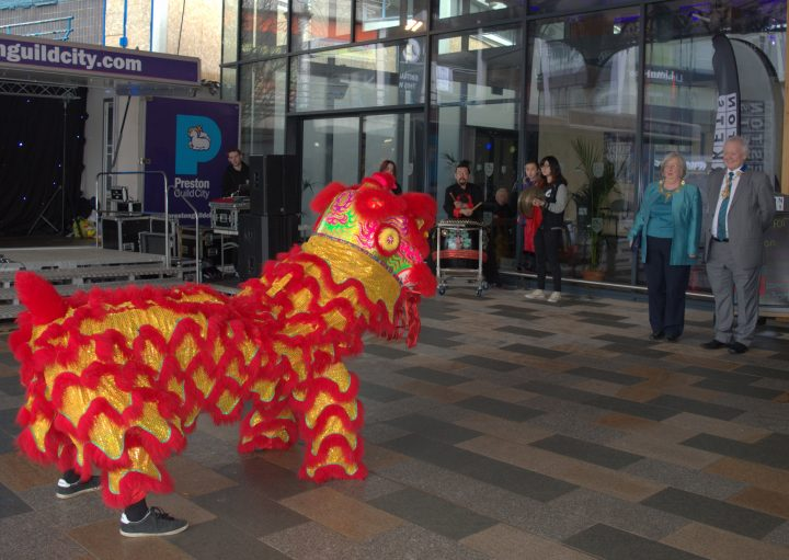 Lion dance at Preston Markets official opening. Pic: Tony Worrall