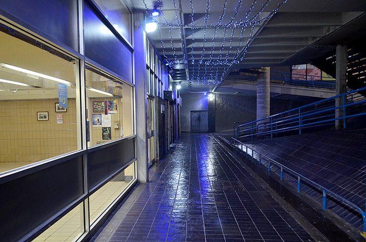 Blue lights outside the market