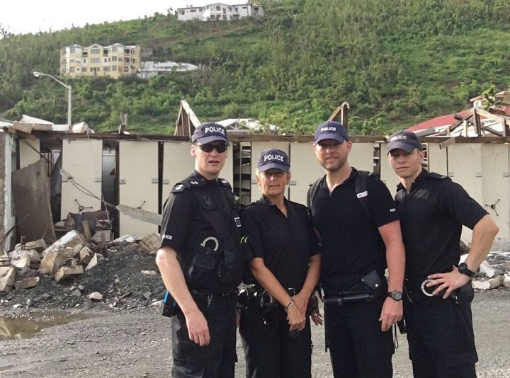 Julie Stewart, second from left, with other police officers seconded
