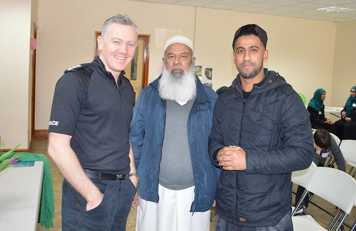 Chief Insp Jon Clegg with mosque community leader Zulfiqar Ahmed