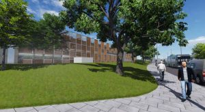 View of the proposed car park from Sharoe Green Lane