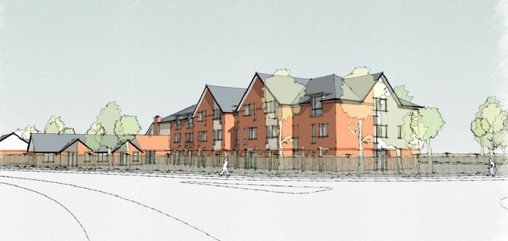 A view of the proposed Sue Ryder care home from the south west approach