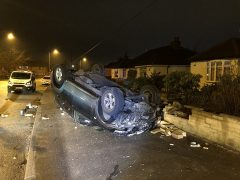The scene in Chorley Road in the early hours of Tuesday