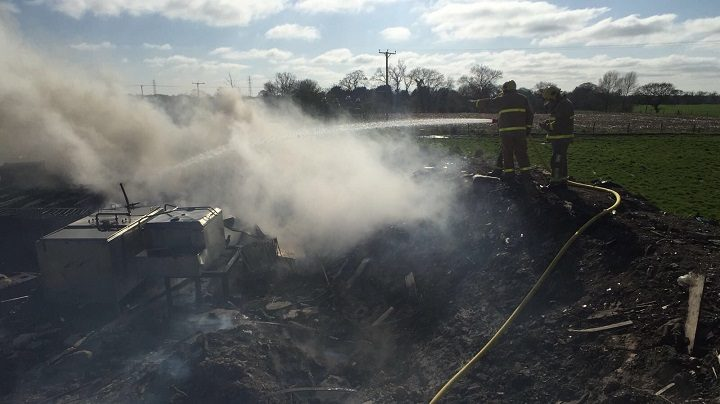 Firefighters putting out the fire in Woodplumpton Pic: Lancashire Fire and Rescue Service
