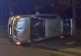 The vehicle on its side in Aqueduct Street Pic: Garry Cook