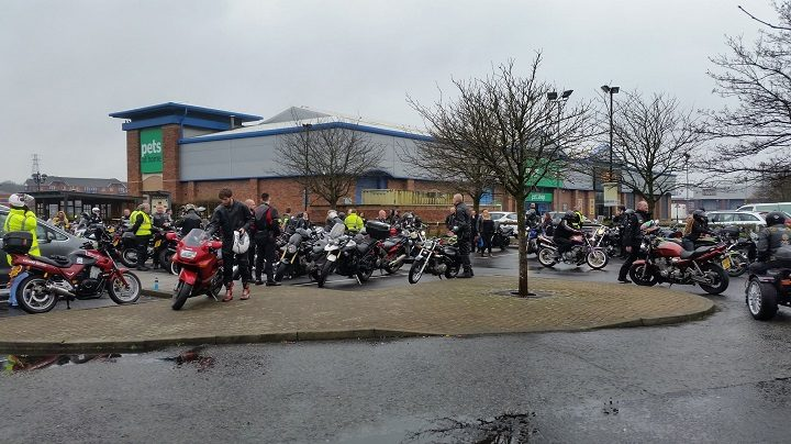 Bikers gathered at the Docks to accompany the procession to the crematorium at Ribbleton