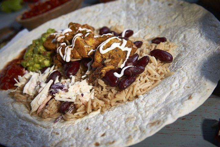 A chicken methi burrito