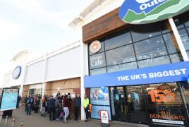 Queue outside the new Go Outdoors at Preston