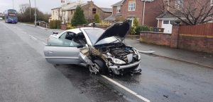 Damage to the car in Hoghton Lane Pic: Preston Police