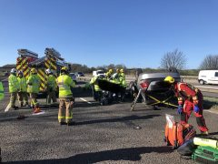 Scene on the M6 where a car had overturned Pic: ACC Terry Woods