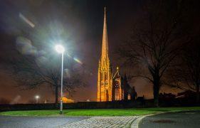 A street lamp burning bright near St Walburge's church Pic: Paul Melling