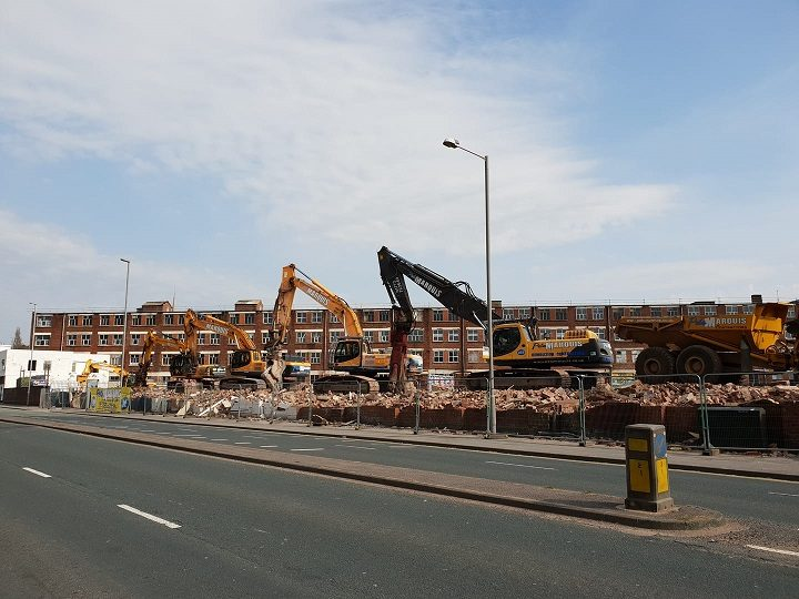 The rubble is being cleared at the Porsche construction site Pic: Andrew Forster