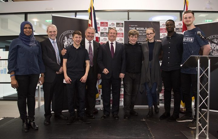 The Great Ideas Hack winners with Professor Mike Thomas, David Taylor and Dr Liam Fox MP