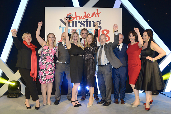 Members of the Faculty of Health and Wellbeing celebrate at the Student Nursing Times Awards 2018