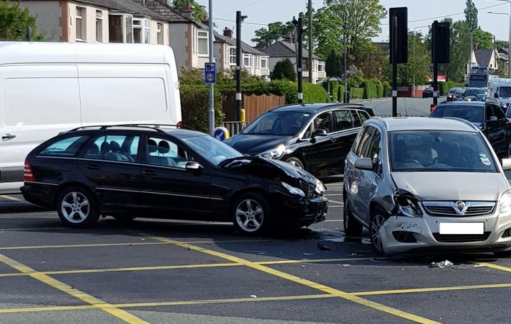Crash in Blackpool Road on Thursday morning Pic: Paul Iddon