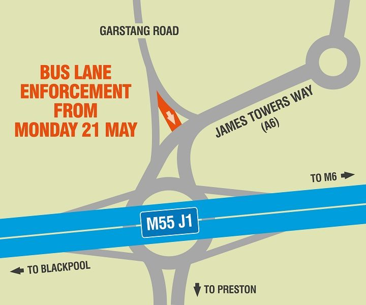 Map showing the Broughton bus lane