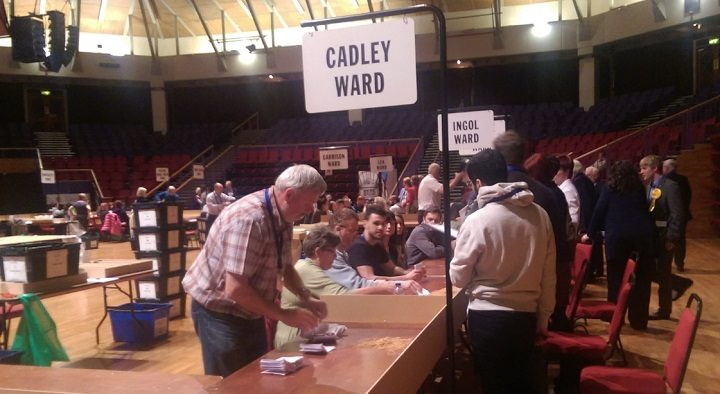 Counting in Cadley ward in the 2018 local elections