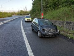 The car awaiting recovery on the M61 slip road at Junction 9 Pic: LancsRoadPolice