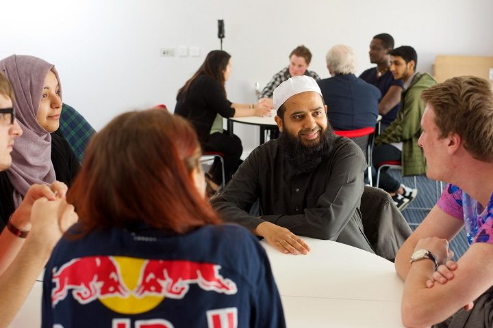 Faith groups and students inside the new multi-faith centre