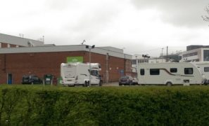 The traveller group on the Fulwood Leisure Centre car park
