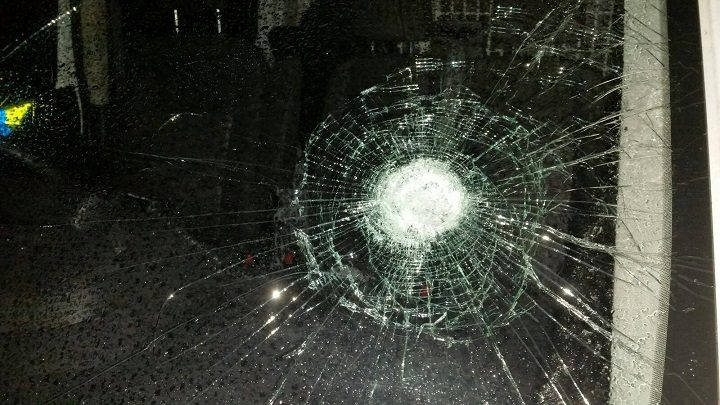 The damage caused to the windscreen Pic: Preston Police