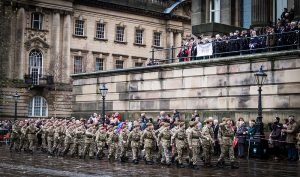 The Armed Forces Day parade in the Flag Market Pic: Billy Matthews