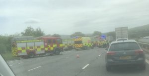 Emergency services at the scene of the crash on the M6 Pic: Logan Rowe