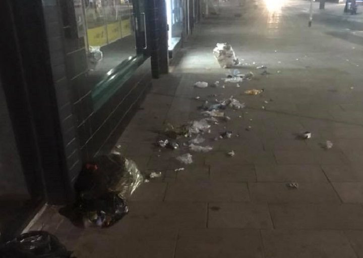 Another view of the rubbish scattered in Fishergate