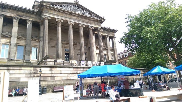 The Harris was the back drop for the comic stalls and exhibitions on the Flag Market Pic: Blog Preston