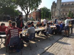 The city's rough sleepers enjoy a hot meal on the Flag Market on Sunday evening