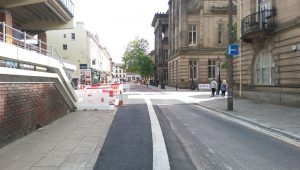 Lancaster Road barriers being moved away Pic: Blog Preston