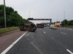 The scene in the M6 on Friday morning Pic: LancsRoadPolice