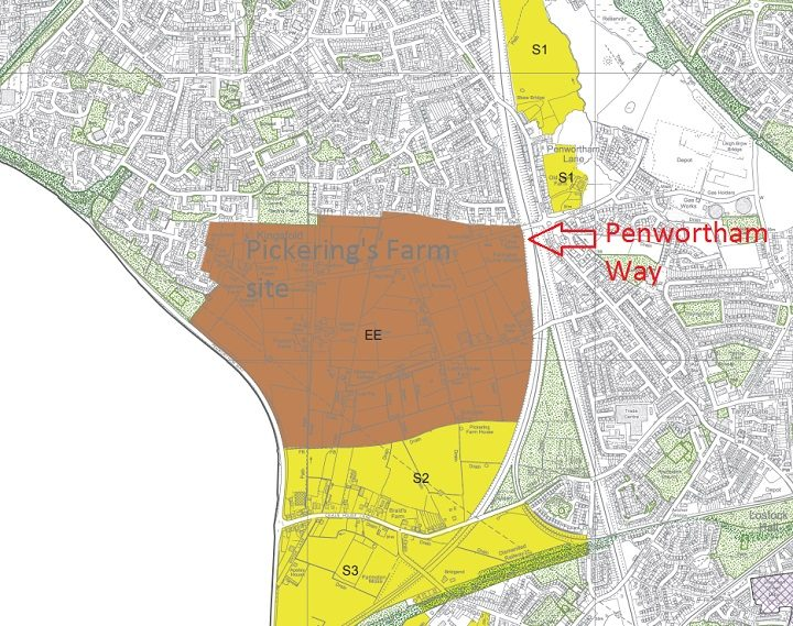 Where the proposed Pickering's Farm site would be