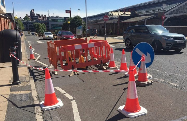 The sinkhole has been sectioned off by workmen Pic: Lancashire County Council