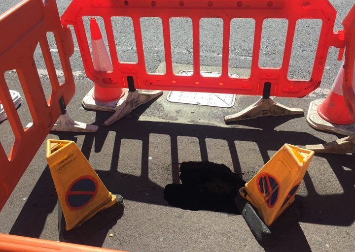 The sinkhole in Butler Street Pic: Lancashire County Council