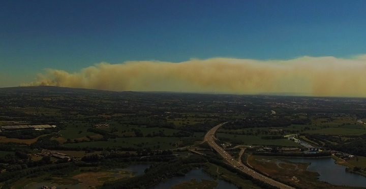 The pall of smoke as seen from Grimsargh coming from Winter Hill fire Pic: Stephen Melling