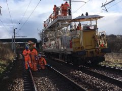 A wiring train between Preston and Manchester Pic: Network Rail