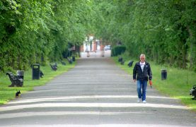 Walking the lined walkway in Haslam Park Pic: Tony Worrall