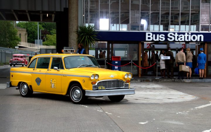 One of the American yellow cabs parked up at the Bus Station Pic: Tony Worrall